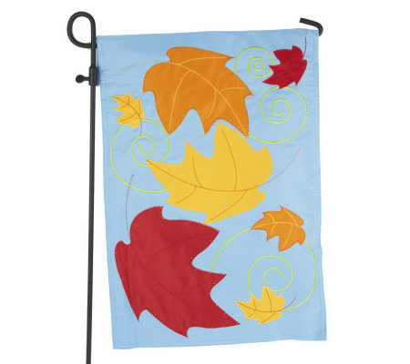 Fiber Optic Fall Garden Flag w/ 3-Pc. Flag Stand by Evergreen