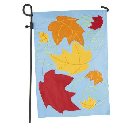 Fiber Optic Fall Garden Flag w 3 Pc Flag Stand by Evergreen