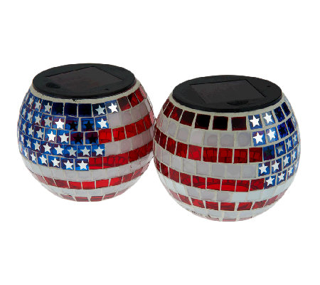Paradise 2-Pc. Star Spangled Mosaic Solar Light Jar Set