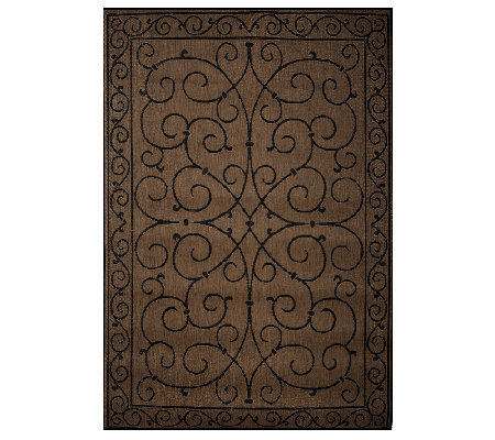 Veranda Living 5x7 Reversible Scroll Design Indoor/Outdoor Rug