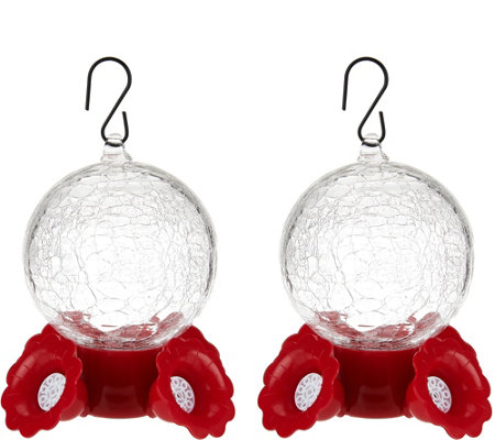 Set of 2 Crackle Glass Hummingbird Bird Feeders