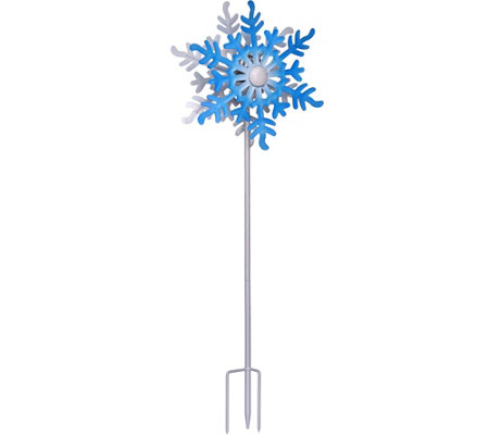 "Compass Home 40"" Solar Snowflake Wind Spinner with Glass Sphere"