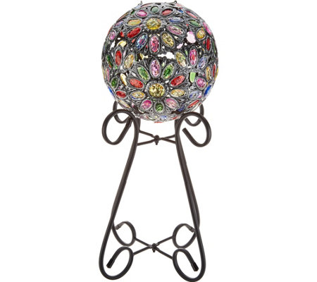 Plow & Hearth Solar Crystal Globe with Stand & Hanging Chain