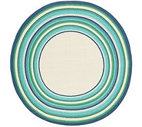 "Veranda Living Indoor/Outdoor 78"" Round Multi Color Stripe Border Rug - M55725"