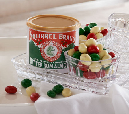Ships 11/7 Squirrel Brand (4) 1lb. Tins White Chocolate Rum Almonds