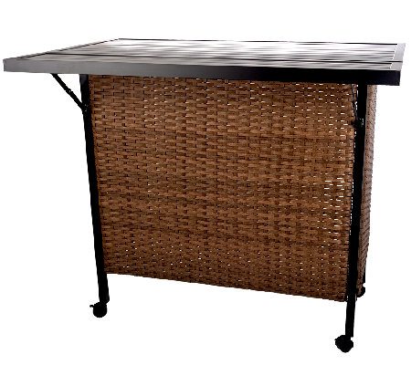 ATLeisure Wicker Resin Entertainment Center with Expandable Top