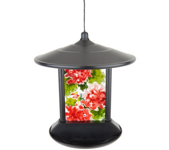 Solar LED Birdfeeder with Decorative Glass Panel by Evergreen - M52127