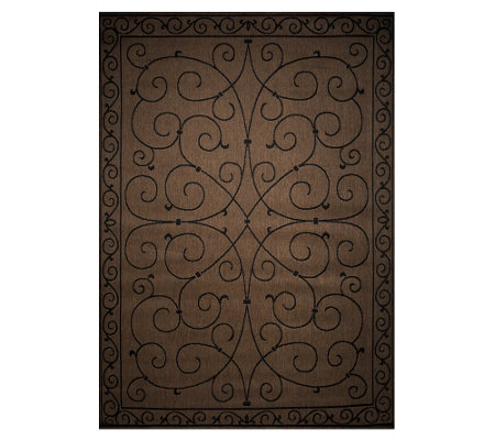 Veranda Living 7x10 Reversible Scroll Design Indoor/Outdoor Rug