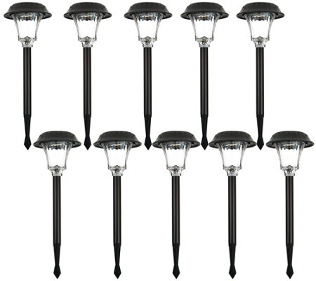 Duracell Set of 10 Ribbed Glass Solar Path Light Set