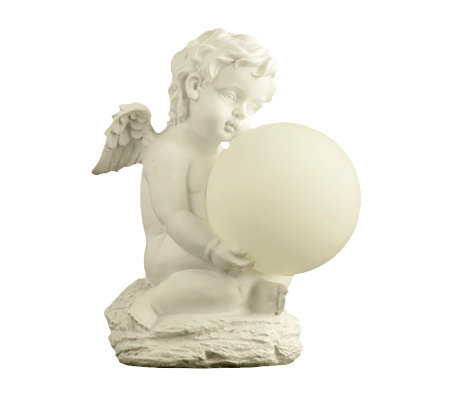 Solar Garden Light Resin Cherub