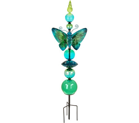 "32"" Glass Butterfly Garden Stake by Evergreen"