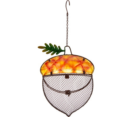 Harvest Themed Glass and Metal Birdfeeder by Evergreen
