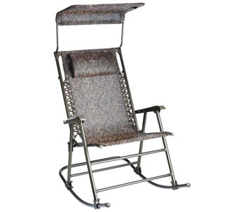 """As Is"" Bliss Hammocks Deluxe Foldable Rocking Chair w/Sun Shade - M120132"