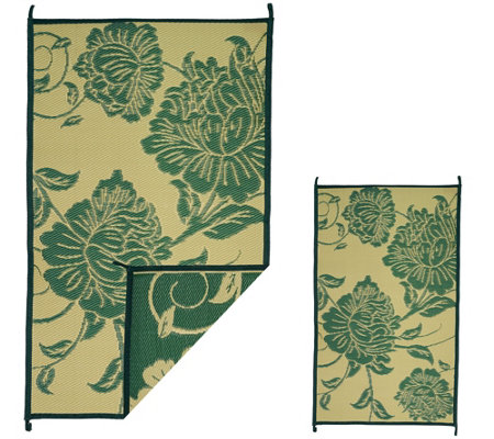 Barbara King Floral 5x8 Reversible Outdoor Mat w/Matching 3x5