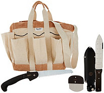 Martha Stewart Heavy Duty Garden Bag with Crevice Tool, Hori Hori & Saw - M55435