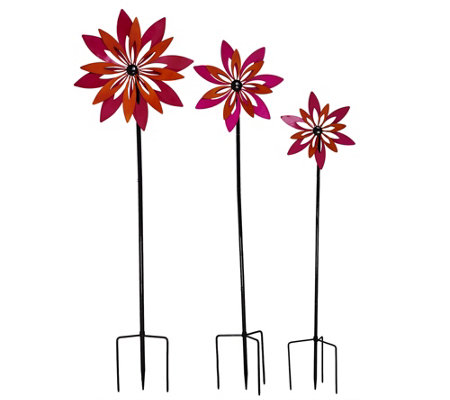 Plow & Hearth Set of 3 Flower Garden Spinners
