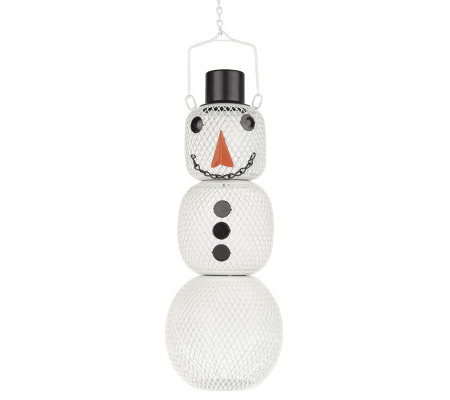 Holiday Snowman Wire Basket Bird Feeder