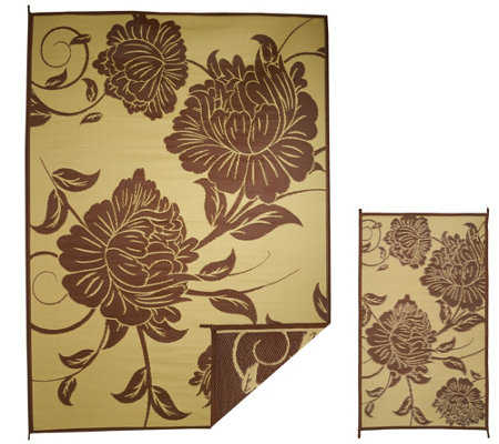 Barbara King Floral 8x11 Reversible Outdoor Mat w/Matching 3x5