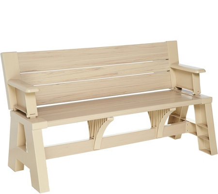 Convert-A-Bench Faux Wood Outdoor 2-in-1 Bench-to-Table w/ 5 Year LMW