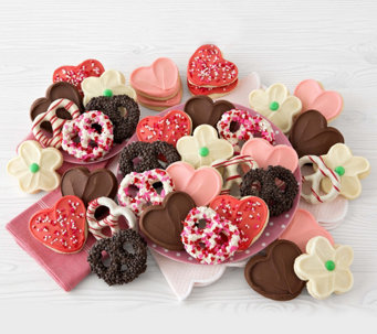Cheryl's 24 Valentine Cutout Cookies and 12 Gourmet Pretzels - M115138