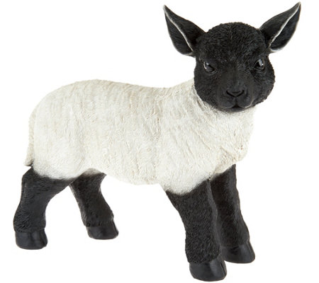 Plow & Hearth Resin Suffolk Lamb Garden Statue