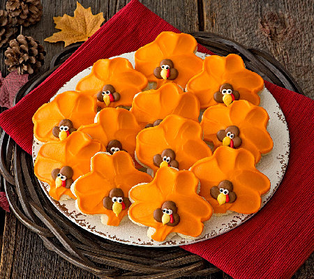 Ships 11/1 Cheryl's Buttercream Frosted TurkeyCutouts 12 pc