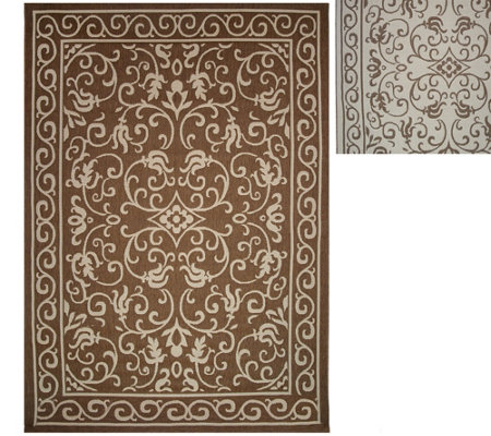 """As Is"" Veranda Living Indoor/Outdoor Reversible 7x10 Scroll Rug"
