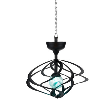 Compass Home Solar Hanging Double Wind Spinner w/ Color Light