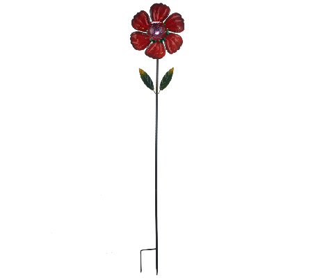 Kinetic Flower Stake with Crackle Glass Solar Light