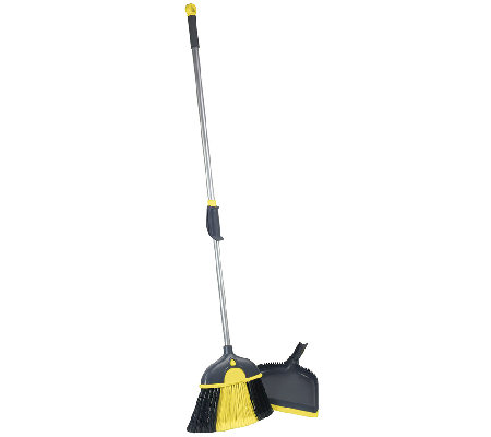 Casabella Height-Adjustable Broom with Dustpan