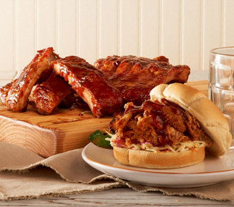 Corky's BBQ 4 lbs Baby Back Ribs & Choice of 2lbs Sausage or Pulled Pork - M47046