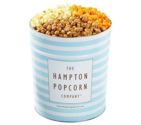 Hampton Popcorn Classic 3.5-Gallon Tin with 3 Gourmet Flavors