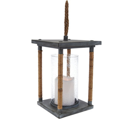 """As Is"" Scott Living 11"" Jute Wrapped Lantern with Flameless Candle"