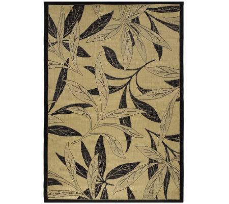 "Bliss Hammocks 5'3""W x 7'6""L Indoor/Outdoor Stain Resistant Fern Rug"