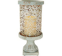 "Barbara King 12"" Cement Pillar with Flameless Candle - M51951"