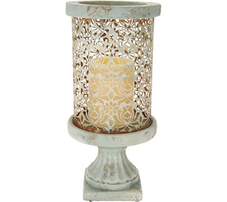 "Barbara King 12"" Cement Pillar with Flameless Candle"