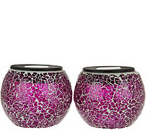 Paradise Set of 2 Solar Mosaic Glass Jars - M53052