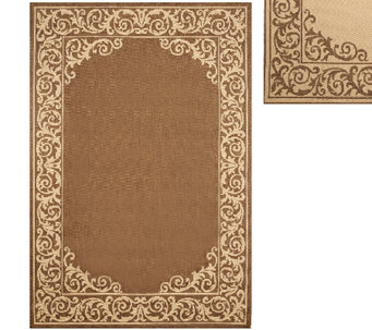 Veranda Living 5' x 7' Border Scroll Indoor/Outdoor Reversible Rug - M45154