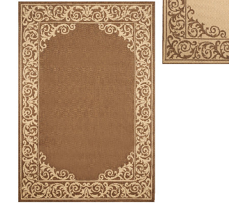 Veranda Living 5' x 7' Border Scroll Indoor/Outdoor Reversible Rug