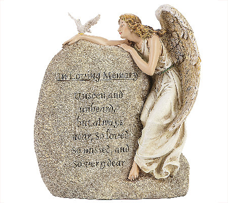 "Joseph's Studio 11-1/4"" Memorial Angel Garden Stone - by Roma"