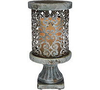 "Barbara King 9"" Cement Pillar with Flameless Candle - M51955"