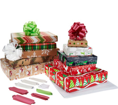 ReadyWrap 10pcPre-Wrapped Box Set with EZ Bows, Tags & Tissue Paper