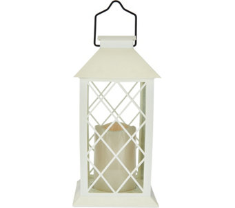 Barbara King Indoor/Outdoor Solar Lantern with Flameless Candle - M52856