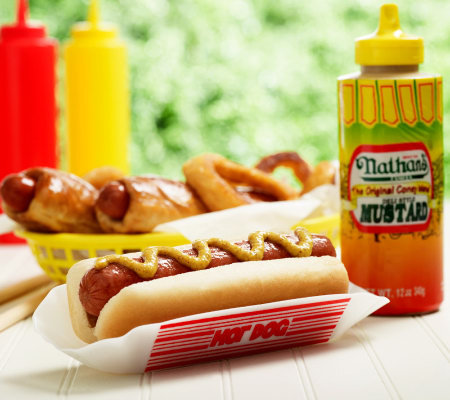 Nathan's Famous (10) 4.8 oz. Pretzel Dogs (10) 3.2 oz.Hot Dogs & Mustard
