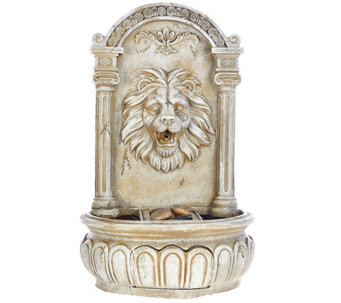 Bernini Rechargeable Indoor/Ourdoor Lion Head Wall Fountain - M48858