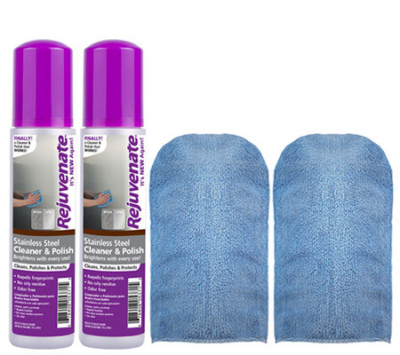 Rejuvenate S/2 10oz Stainless Steel Cleaner & Microfiber Mitts