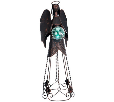 Plow & Hearth Metal Angel with Solar Crackle Ball