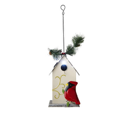Solar Holiday Metal Glitter Birdhouse