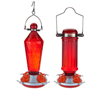 Ultimate Innovations S/2 Glass Hummingbird Feeders - M49161