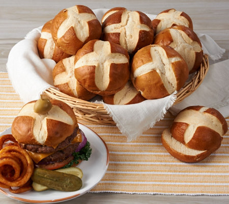 Prop and Peller (20) 3 oz. Bavarian Style Pretzel Burger Buns